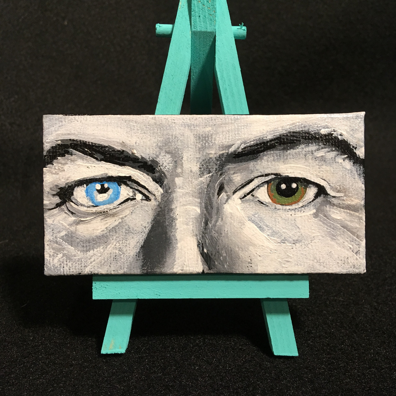 "David Bowie eyes mini painting on 4x2"" canvas with easel."