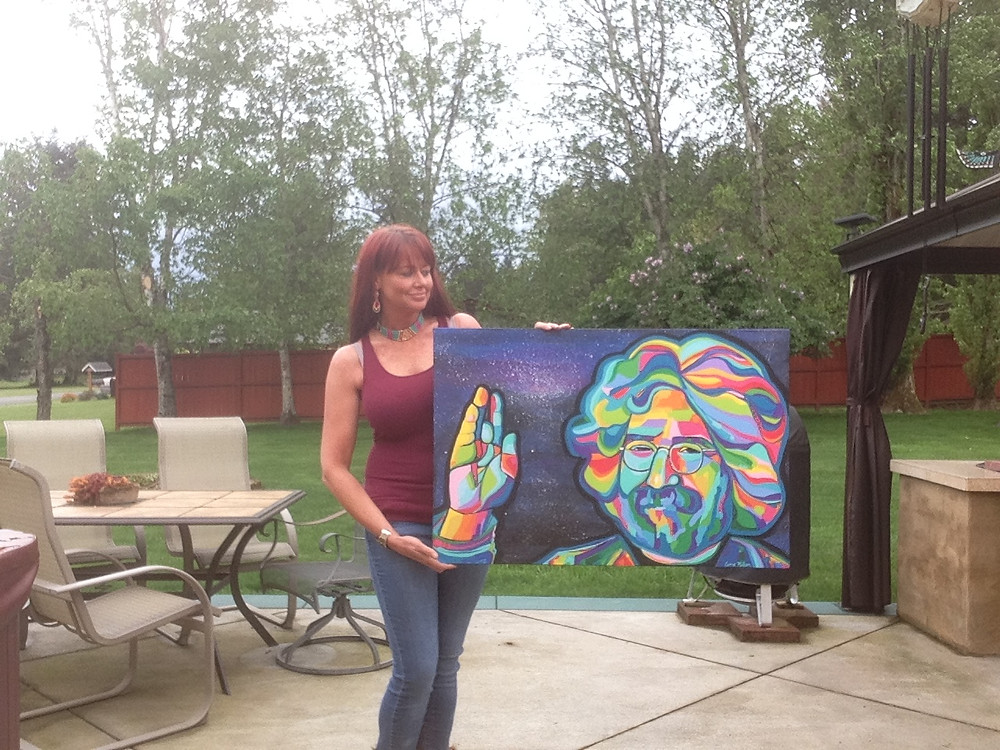 Carrie Milburn and Jerry Garcia Painting