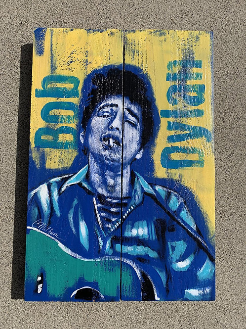Bob Dylan on Wood, 11x16""