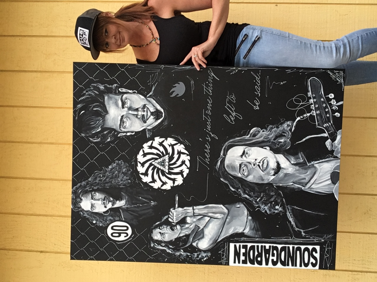 """Artist Carrie Milburn with her Chris Cornell painting (collage). Acrylic painting 36""""x48"""". Title: """"Seasons"""" www.CarrieMilburn.com"""
