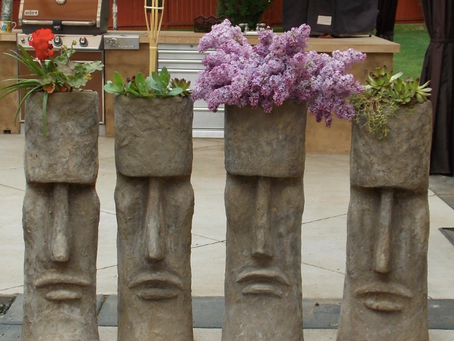 Cement Moai Planters: Snohomish Garden Art