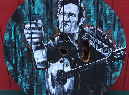 Johnny Cash Wood Painting at SnoTown Brewery
