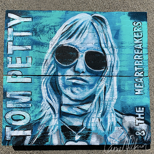 Tom Petty Wood Painting, 12x11""