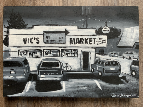 Vic's Market, Snohomish - Painting on Wood