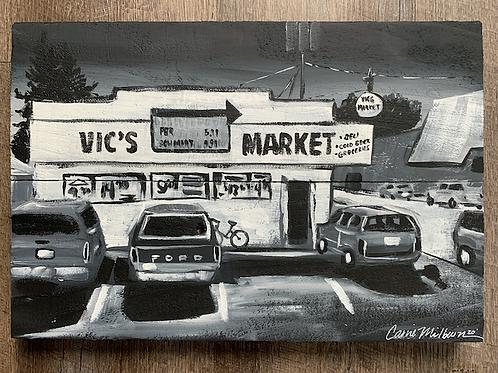 "Vics's Market,Wood Painting 16x10"""