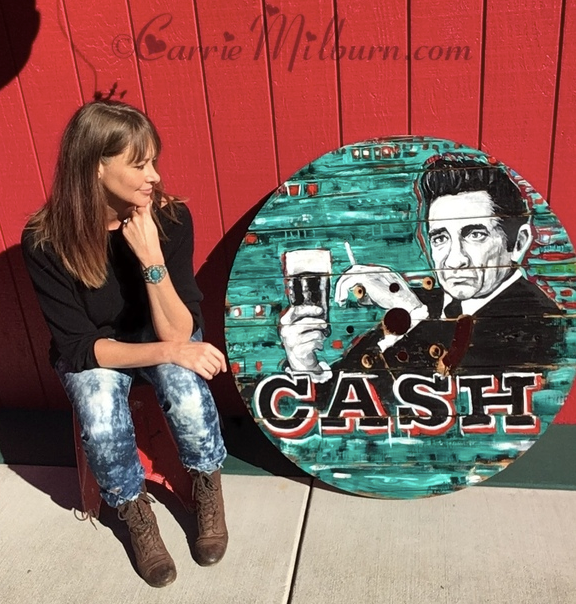 Johnny Cash painting on a wooden spool top by Carrie Milburn, Snohomish, WA.