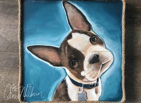 Custom Pet Portrait Paintings on Wood: Seattle Artist