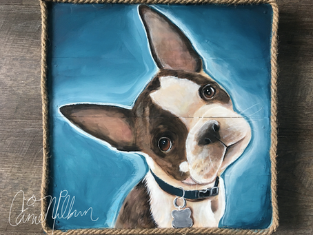Custom Pet Portrait Paintings on Wood: Seattle Artist