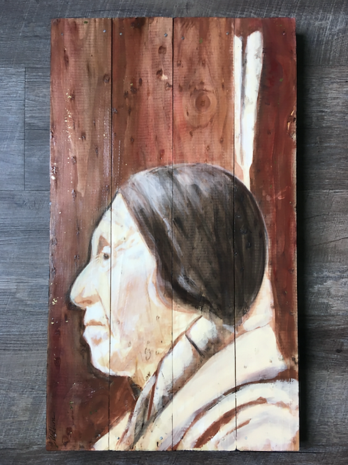 "Joe No Heart aka Medicine Joe, 14x24"" Wood"