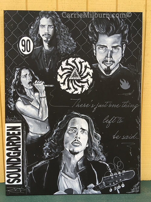 """Chris Cornell Collage Painting, 36""""x48"""""""