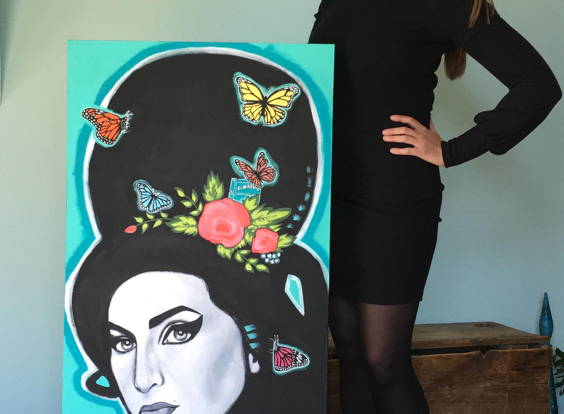 Amy Winehouse painting, original artwork by artist Carrie Milburn