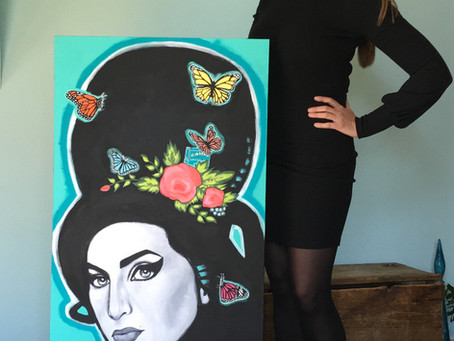 Amy Winehouse Painting: Black Butterfly