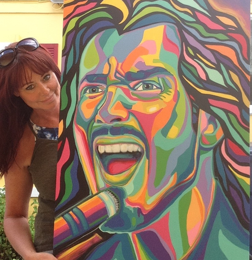 Chris Cornell original painting in colorful acrylics on 24x36 canvas. By Seattle area artist Carrie Milburn.