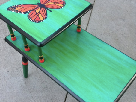 Vintage Table, Upcycled Butterfly Art