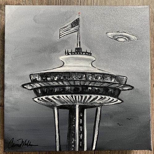"Space Needle UFO, Canvas 8"""