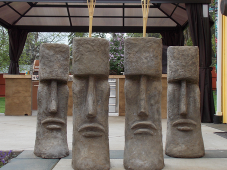 Tiki Planters Made From Cement - Seattle, Snohomish, PNW Yard Art