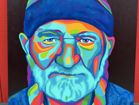 'Wild Willie', Willie Nelson Abstract Painting