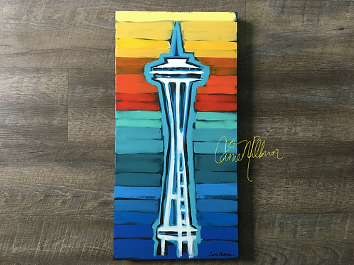 Seattle Space Needle Original Painting 12x24""