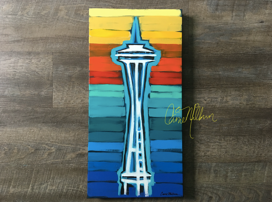 Space Needle painting with rainbow background