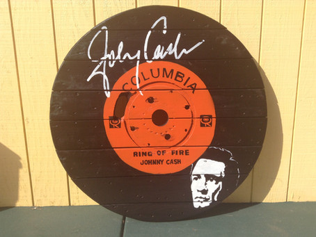 Johnny Cash Spool Top Painting