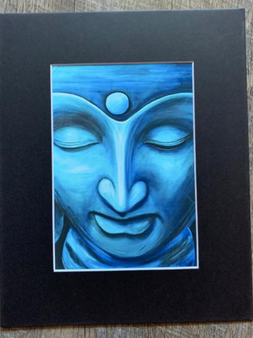 Blue Buddha Matted Print