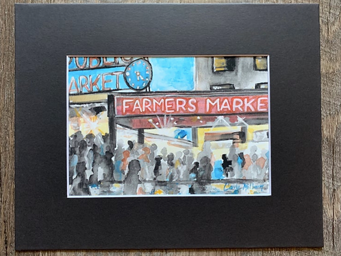Pike Place Market Matted Print