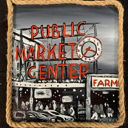 """Pike Place Market - 10x11"""" Wood Painting"""