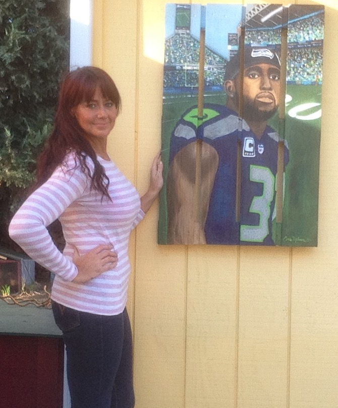 Kam Chancellor Painting, by Snohomish artist Carrie Milburn
