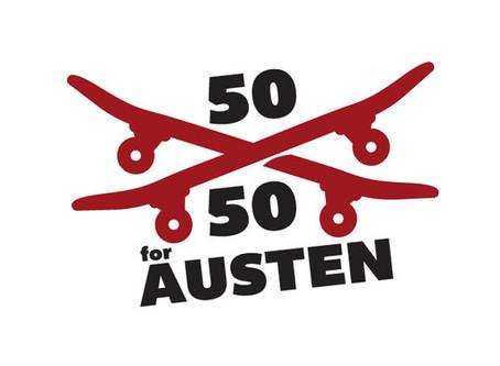 Skateboard Art for Charity! 50 50 for Austen