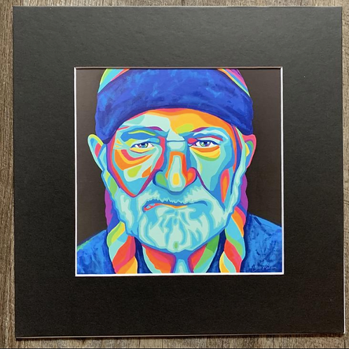 Willie Nelson Matted Print