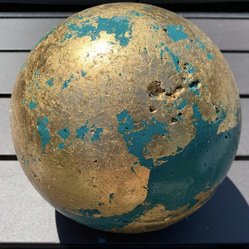 "Large 8"" Cement Garden Sphere - Gold & Turquoise"