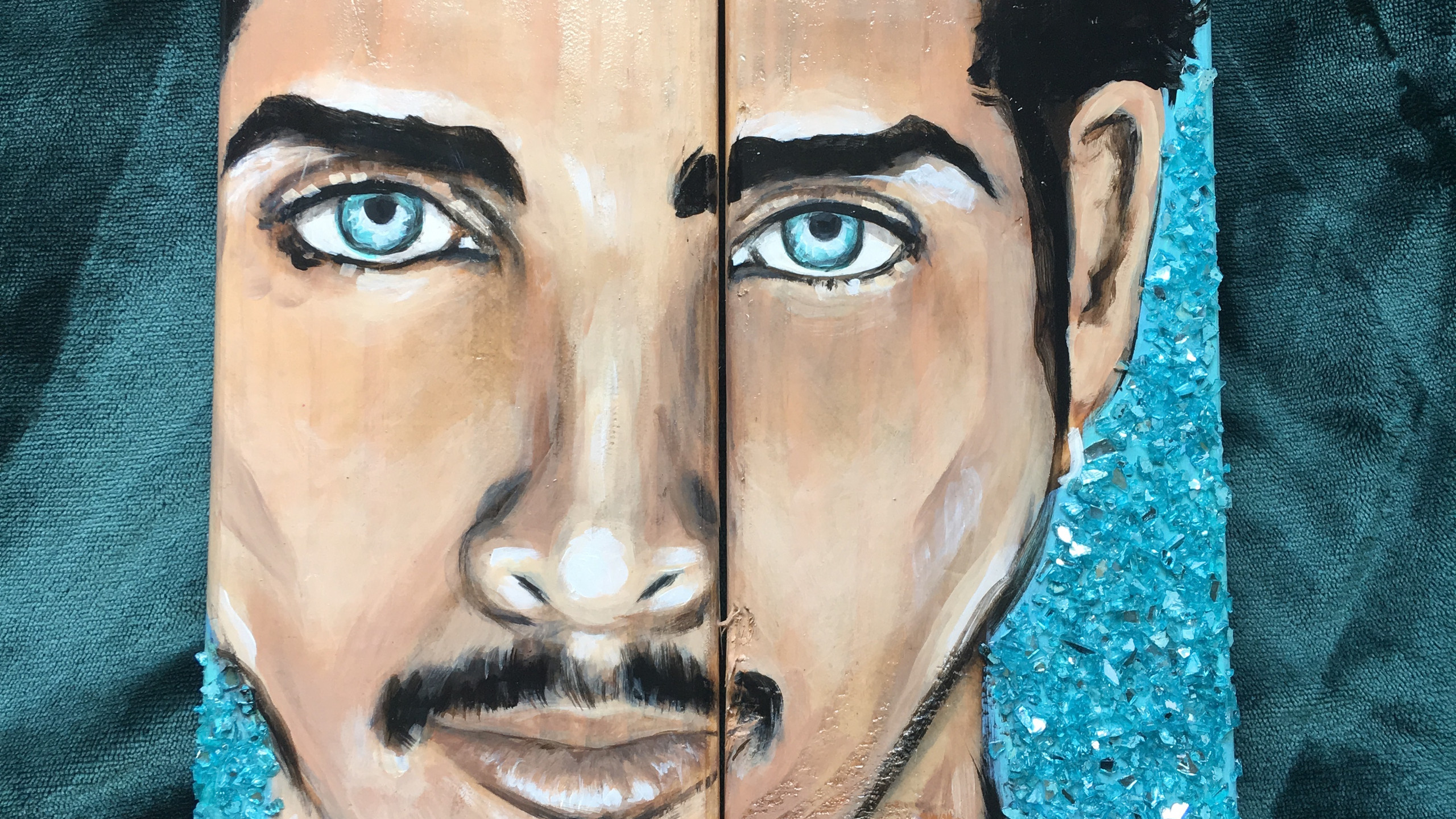Chris Cornell painting on wood with crushed glass background by Carrie Milburn.