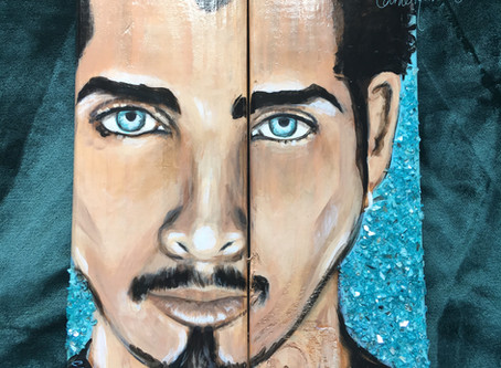 """Chris Cornell, """"Crushed"""": Wood Painting with Crushed Glass"""