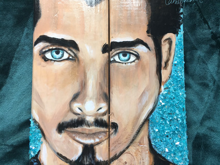 "Chris Cornell, ""Crushed"": Wood Painting with Crushed Glass"