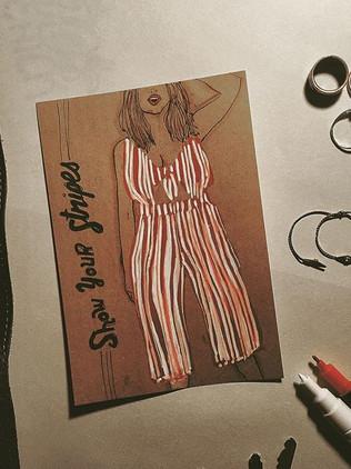 Striped Jumper Lady.