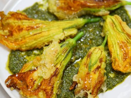 Squash Blossoms with Vegan Ricotta