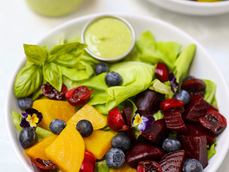 Beet & Berry Salad with Avocado Basil Dressing
