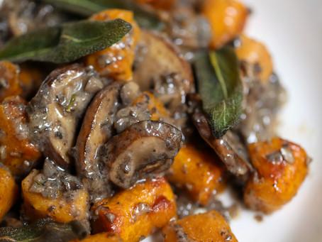 Sweet Potato Gnocchi with Sage Mushroom Alfredo
