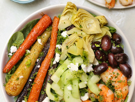 Greek Salad Bowls with Shrimp and Dairy-Free Tzatziki Sauce