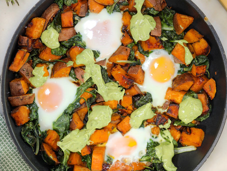 Sweet Potato and Spinach Hash with Avocado Crema