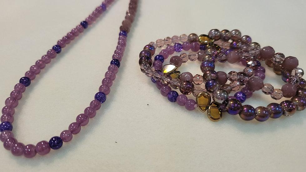 amethyst bracelet and necklace set
