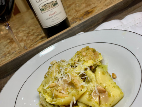 Roasted Tomato & Mozzarella Tortelloni with Pesto and Pignolis