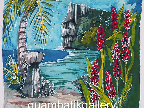 Print: Two Lovers Point with Ginger Flowers (8X10)
