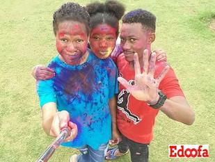 Edoofian celebrating Holi Festival