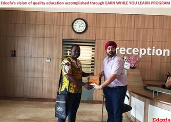 Happy Edoofian winning Scholarship credits