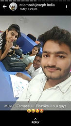 Light moments in the lecture hall with Indian friends.