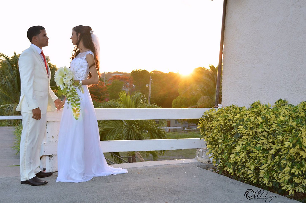 Sunset bride and groom moment