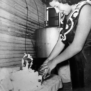 Celine cutting her wedding cake
