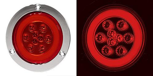 """PLAFON 4"""" PLANO BRIDA CROMO 9 LED DE GEL CON FUNCIONES ROJO"""