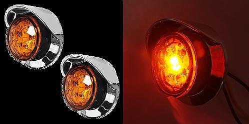 """PLAFON EMB. DE ROSCA 1"""" 2 LED AMBAR CROMO"""